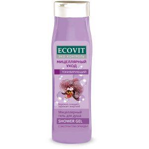 """Гель для душа ECOandVIT<br> тонизирующий с маслом моной де таити,<br> экстрактом орхидеи """"Мицеллярный"""" 400 мл"""